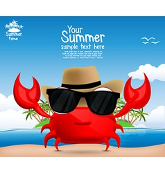 Summer background with a cute cartoon crab vector image