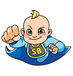 Super baby boy flying vector