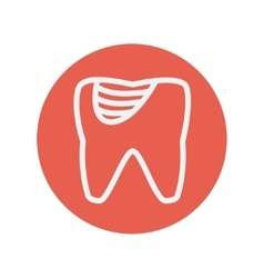 Tooth decay thin line icon vector