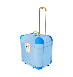 travel plastic suitcase blue large with wheels vector image