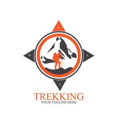 Trekking logo design with compass vector