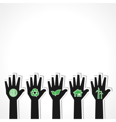United for ecology concept with hands vector