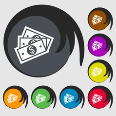 Us dollar icon sign Symbol on eight colored vector image
