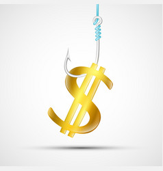 us dollar sign hanging on a fishing hook vector image