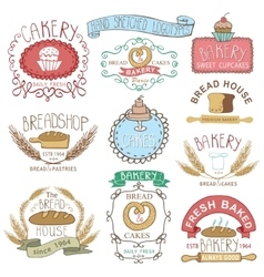 Vintage Bakery LabelsColored hand sketched vector image