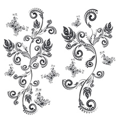 Vintage Floral with Butterflies7 vector image