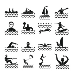 Water sport icons set simple style vector image