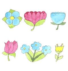 Watercolor flowers set cute design elements vector image