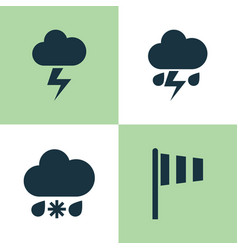 Weather icons set collection of lightning flag vector