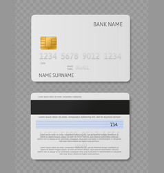 white credit card realistic plastic cards with vector image