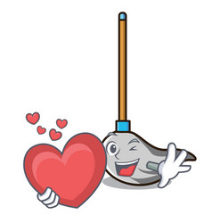with heart mop mascot cartoon style vector image