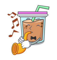 With trumpet bubble tea mascot cartoon vector