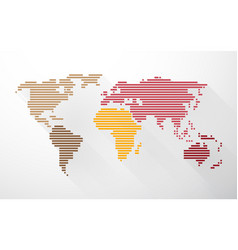 world map created from lines in pastel colors and vector image