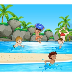 Boys having fun at the beach vector image vector image