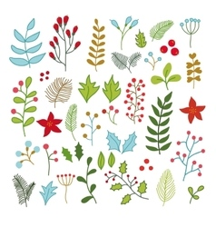 collection of winter Merry Christmas And vector image