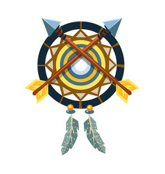 dreamcatcher charm with crossed arrows native vector image vector image