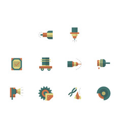 Metal processing workshop flat color icons vector
