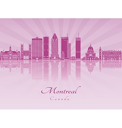 Montreal V2 skyline in purple radiant orchid vector image vector image