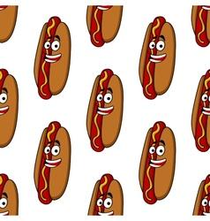 Smiling hot dog seamless pattern vector image
