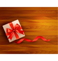 Holiday background with gift box and red ribbons vector image vector image