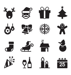 silhouette christmas icons set vector image vector image