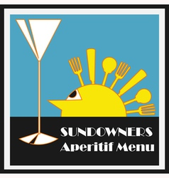 Sundowners aperitifs menu vector