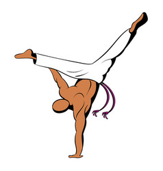 capoeira dancer icon cartoon vector image