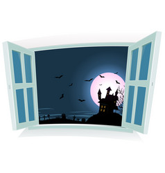 halloween landscape by the window vector image vector image