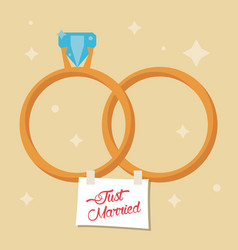 Just married rings star background vector