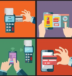 Set of mobile payment via smartphone pay pass vector