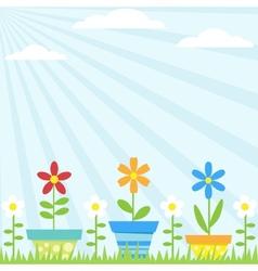 flower pots background vector image vector image