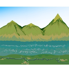 High tide sea with mountain vector image vector image