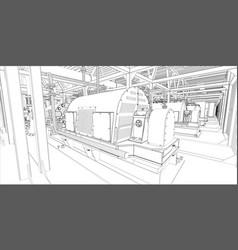 industrial equipment wire-frame 3d render vector image