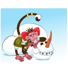 monkey and snowman vector image vector image