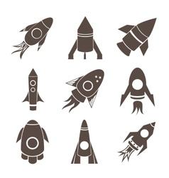 rockets icons set on white background vector image
