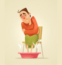 sad sick man character warms his feet vector image vector image