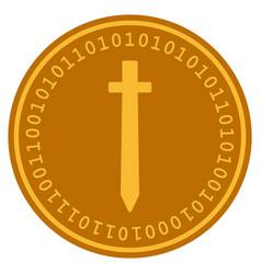 symbolic sword digital coin vector image