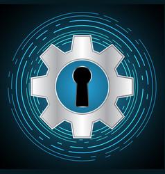 Technology digital cyber security keyhole gear vector