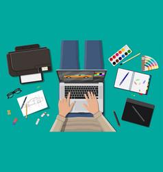 workplace of freelance designer vector image vector image