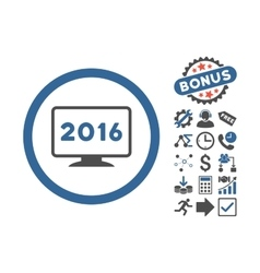2016 Display Flat Icon With Bonus vector image