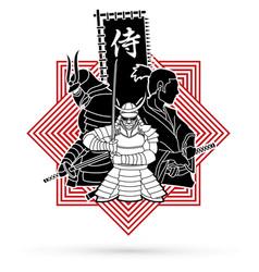 3 samurai composition designed on line square vector