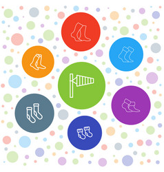 7 sock icons vector image