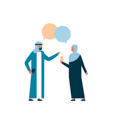 Arab couple business people combined chat bubble vector