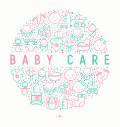 baby care concept in circle with thin line icons vector image