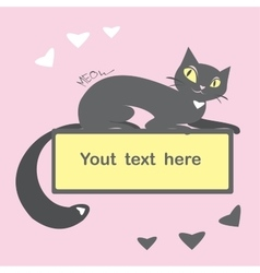 Background with black cat and space for text vector image