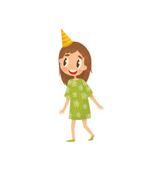 beautiful girl in party hat birthday party vector image