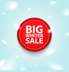 big winter sale red button icon or banner vector image
