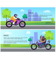 Biker web pages collection vector