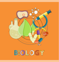 biology emblem with lab equipment for researches vector image
