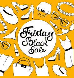 black friday sale hand lettering women clothing vector image